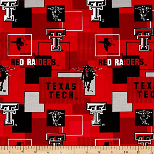 Collegiate Cotton Broadcloth Texas Tech University Block Print Red Fabric By The Yard