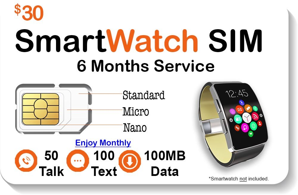 Smart Watch SIM Card - Compatible with 2G 3G 4G LTE GSM Smartwatches and Wearables - 6 Months Service - USA Canada & Mexico Roaming