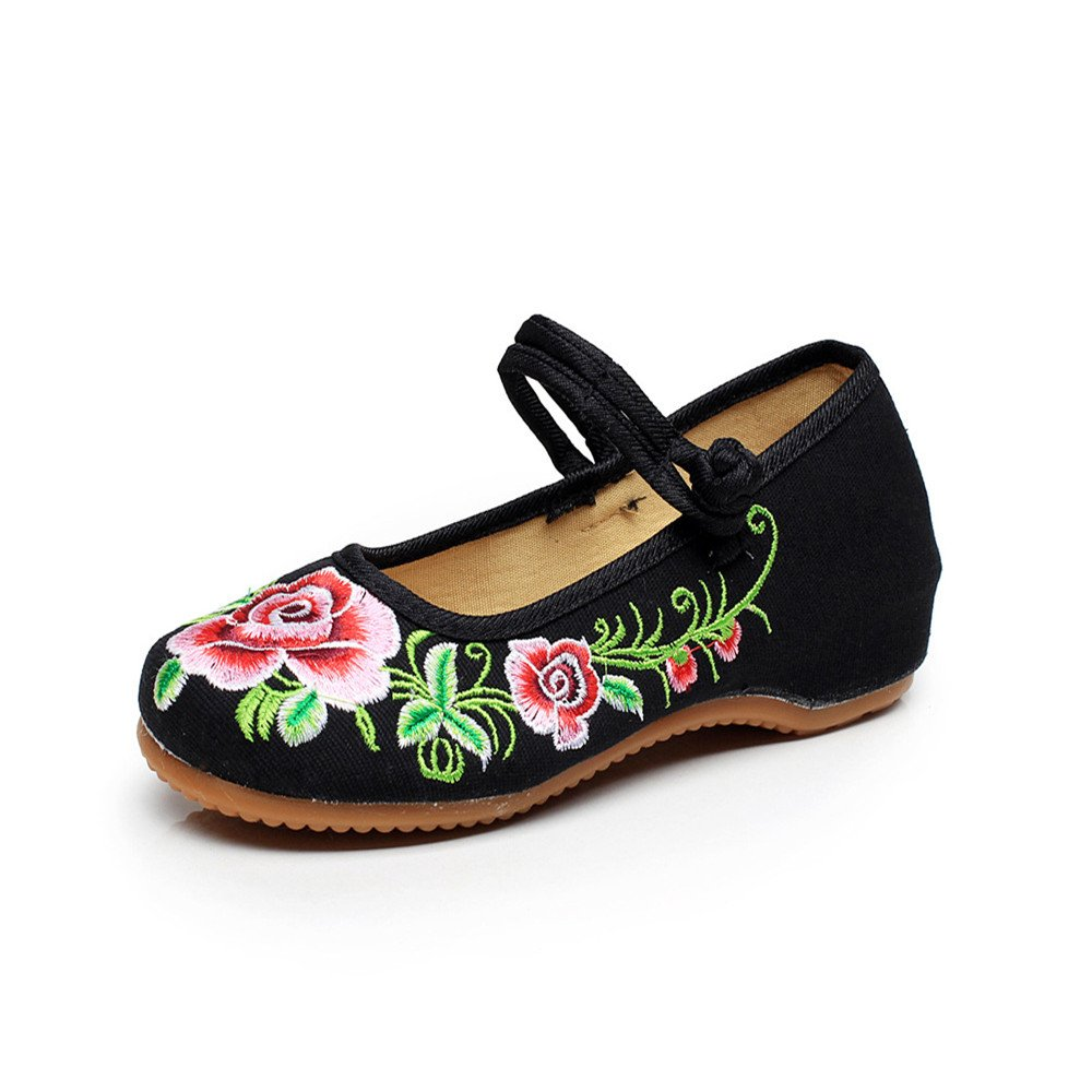 Scarpe Ricamate Flower Peony Fashion Button Canvas Shoes Donna