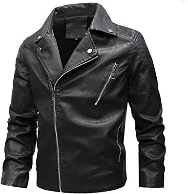 Leather Biker Jacket Men, NRUTUP Inclined Zip Jacket Faux Leather Cool  Motorcycle Jacket Winter Thickened Coat (Black, XL) at Amazon Men's  Clothing store