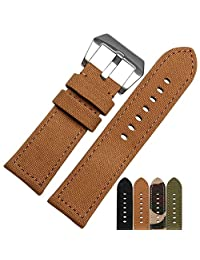 MSTRE NL04 24mm Canvas Band With Thick Nylon Bracelet leather lining For Panerai Watches For Men (24mm, khaki)