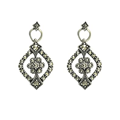 Esse Marcasite Sterling Silver Pave Set Marcasite Heart Earrings A0qqV