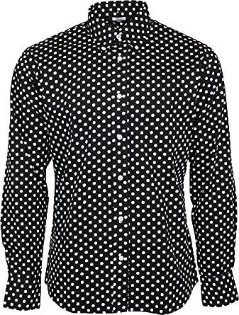 Homme Relco Noir Pois Manche Longue Boutonné 100% Chemise Coton ... 8a33bff52d20