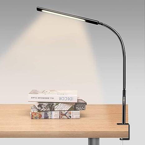 Reading Table Desk Lamp Light White Modern Adjustable Clamp Clip On LED Craft