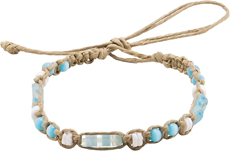 BlueRica Hemp Anklet Bracelet with Turquoise Cats Eye Beads and Cowrie Shell
