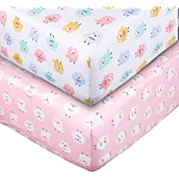 Crib Sheet Set UOMNY 100% Natural Cotton Crib Fitted Sheets Baby Sheet Set for Standard Crib and Toddler mattresses Nursery Bedding Sheet Crib Mattress Sheets for Boys and Girls 2 Pack(owl Pattern)