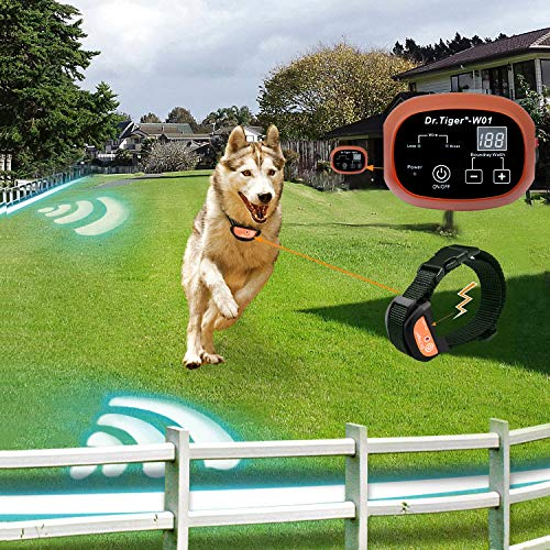 Dr.Tiger 1 Receiver Electric Dog Fence with Rechargeable Shock Collar, Wire In-Ground Dog or Cat Containment Fence System W01-G3, Coffee