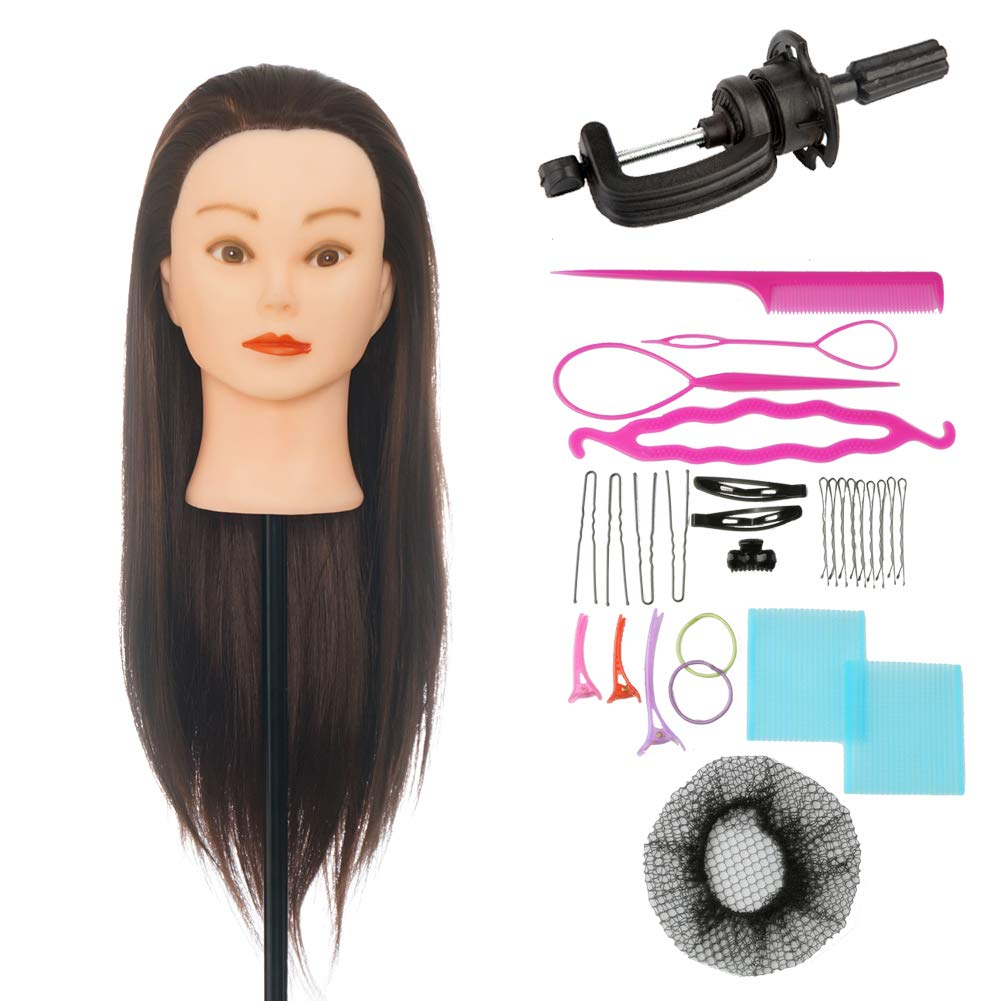 ViogrIA 24 Loog Hair Mannequin head Practice Training Head Cosmetology Manikin Doll with Clamp & Braiding Tool