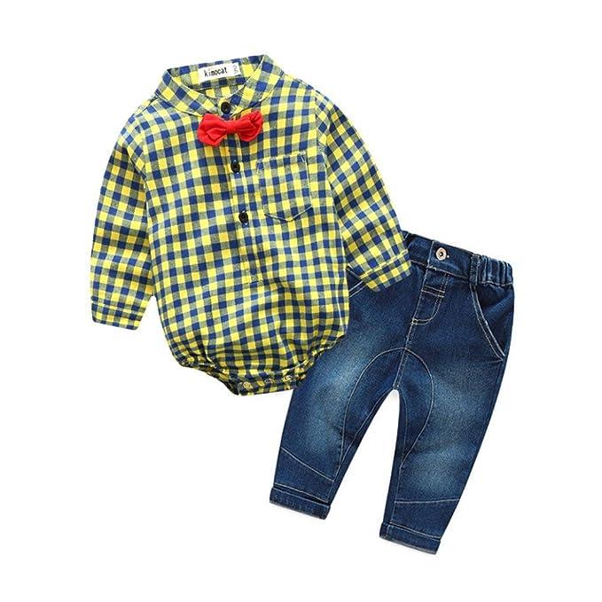 2PCS Bebé Cuadros manga larga Bowknot Caballero Camisa+Denim pantalones ropa Conjunto,Yannerr Recién