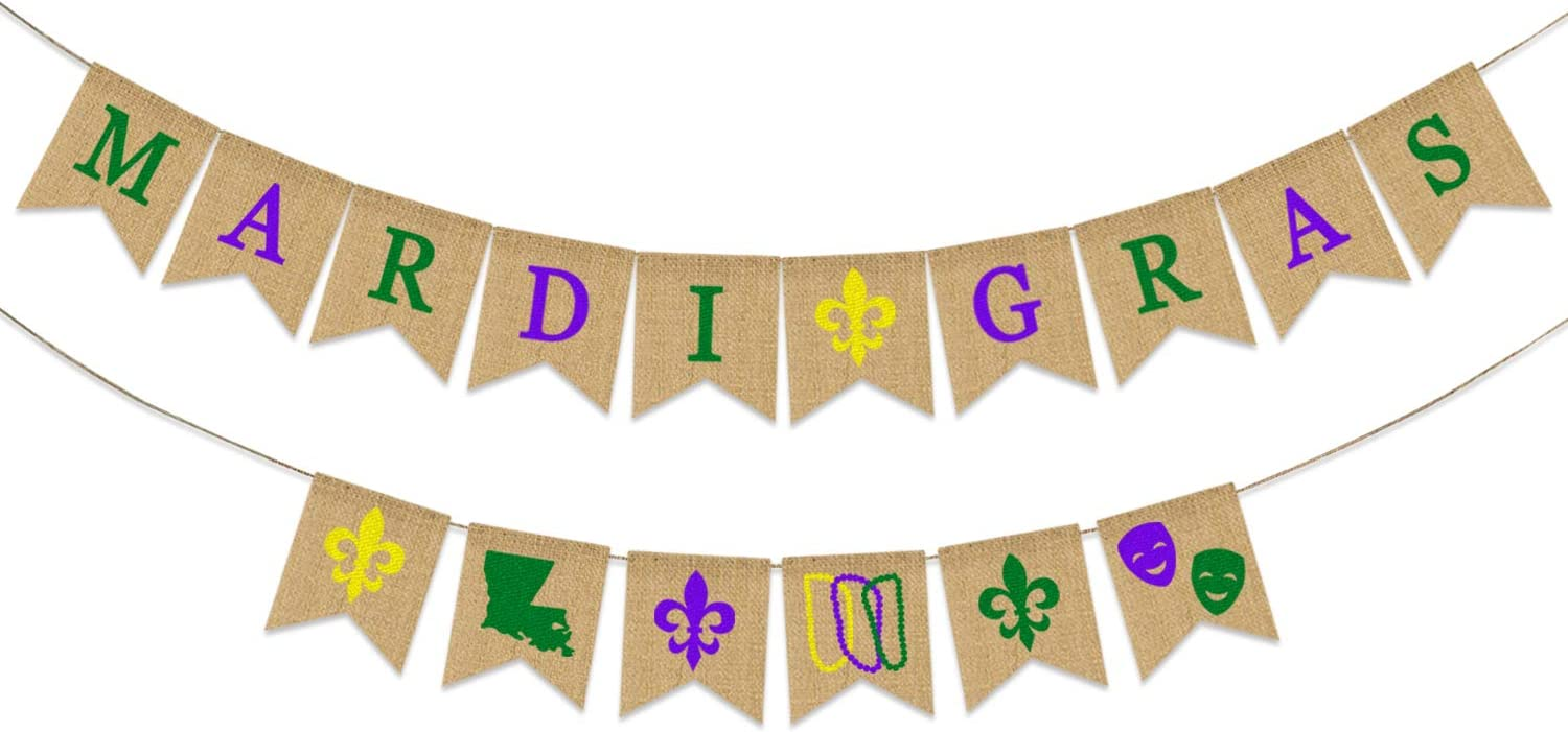 Mardi Gras Banner Burlap | Mardi Gras Decorations | Gold Purple Green Mardi Gras Banner for Mantel Fireplace | Rustic Mardi Gras Party Decorations Supplies | Mardi Gras Outdoor Indoor Hanging Decor