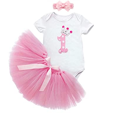 97c3fef30 Youtumall Baby Girls' 1st Birthday Romper Tutu Set, Onesie, Tutu Dress,  Headband