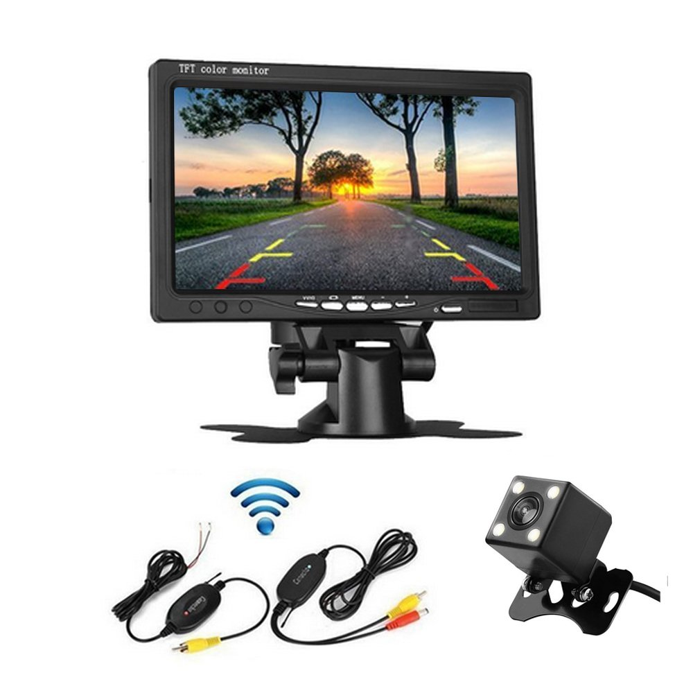 Camecho RC 12V Truck Rear View Wireless IR Night Vision Backup Camera Kit + 7' TFT LCD Rear view Monitor Waterproof For Truck / Van / Caravan PAL&NTSC High Solution 420 TVL CM00- K0084