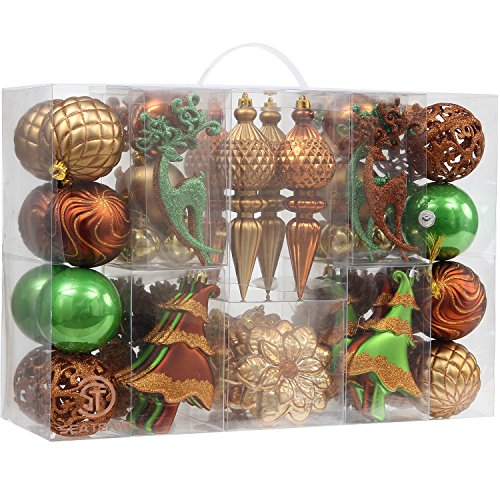 Sea Team 72-Pack Assorted Shatterproof Forest Theme Christmas Ball Ornaments Set Decorative Baubles Pendants with Reusable Hand-held Gift Package for Xmas Tree (Green & Bronze)