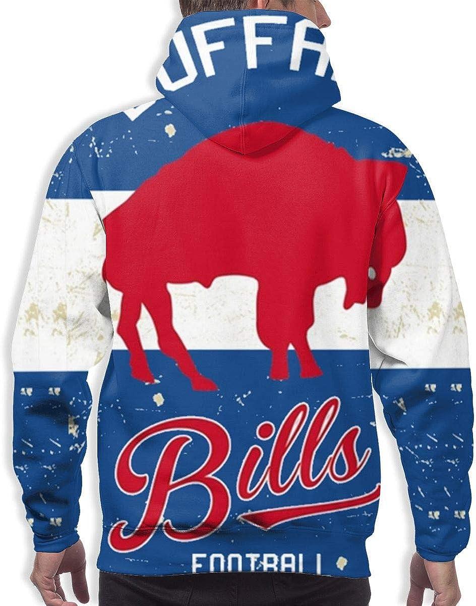 Qinxiaojun Buffalo Mens Classic Bills 3D All Print Hoodie
