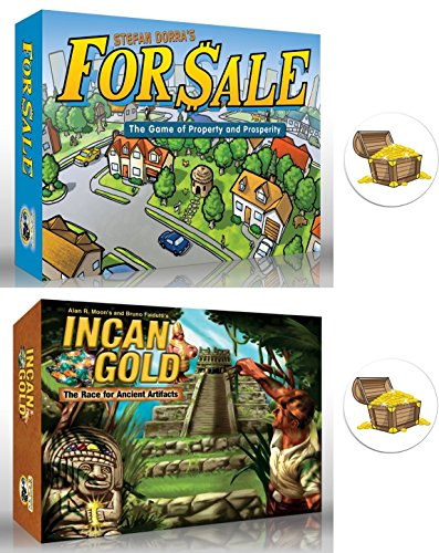 For Sale and Incan Gold Games Bundle plus 2 Treasure Chest B