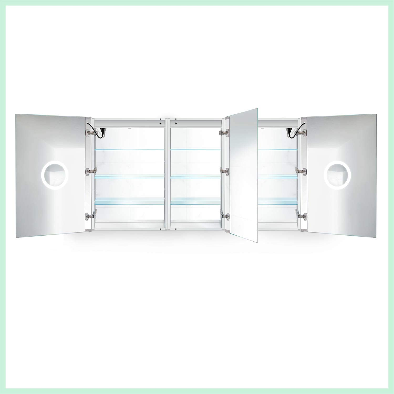 Krugg - Armario de Medicina LED de 66 Pulgadas x 36 Pulgadas, empotrable, Espejo de Superficie con regulador y descongelador + 3 Espejos de Maquillaje en el Interior y la Salida + USB: Amazon.es: Hogar