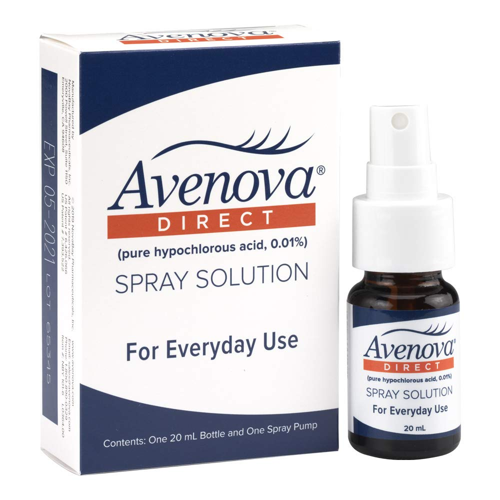 Avenova Direct for Eyelids and Eyelashes, Styes, Dry Eyes, Blepharitis, Meibomian Gland Dysfunction, and Red Eyelids, 0.01% Hypochlorous Acid Spray Solution, 20mL (0.68 oz)