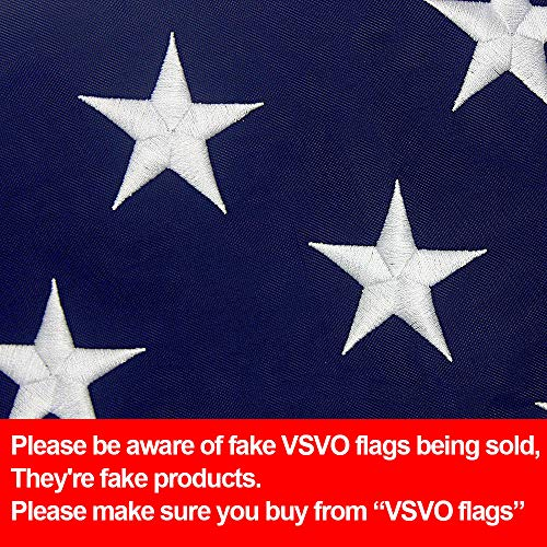 VSVO American Flag 3x5- US Outdoor Flags, UV Protected, Embroider Stars, Sewn Stripes, Brass Grommets Outside USA Flags. ()