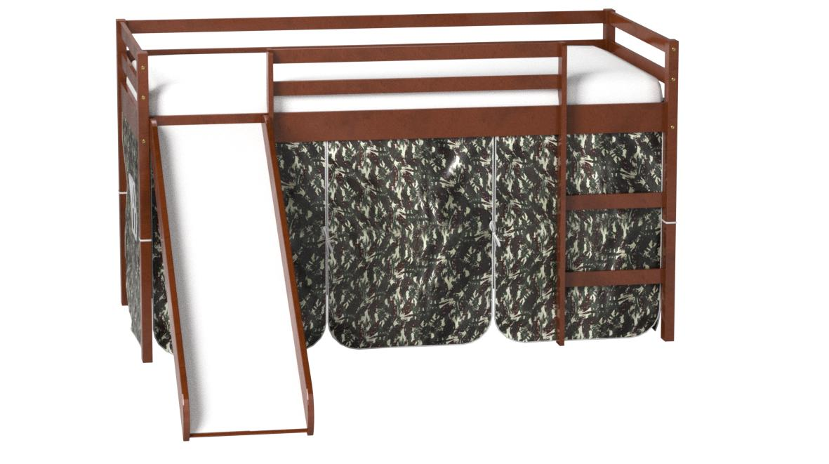 Donco Kids Mission Low Slide Loft Bed Light Espresso/Twin/CAMO Tent