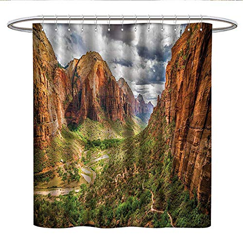 (National Parks Home DecorUnique Shower curtainUtah Plateau Mojave Desert Southwest Erosion Native Aztec Artistic Printcute Shower curtainBrown Green)