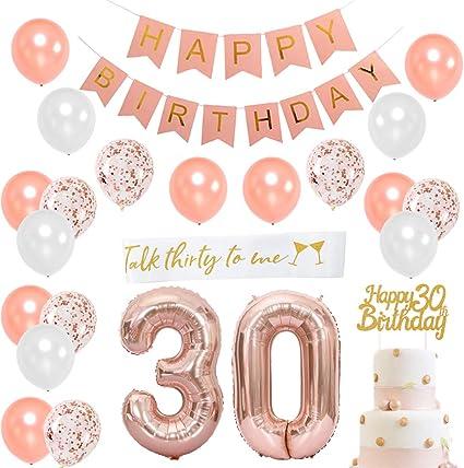 Amazon.com: Decoración de cumpleaños de oro rosa ...