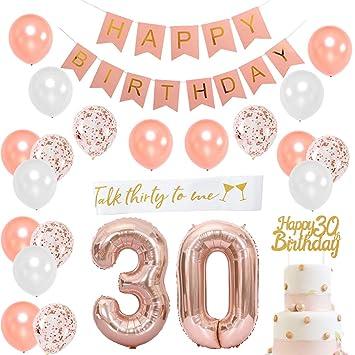 JOYMEMO 30 cumpleaños Decoraciones para Mujeres - 30 cumpleaños Feliz cumpleaños Rosa con Sash, Número 30 Foil Balloon, Rosa Feliz cumpleaños Bunting,