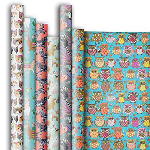 Jillson Roberts 6 Roll-Count All-Occasion Gift Wrap Available in 14 Different Assortments, Birds and Animals by Jillson Roberts
