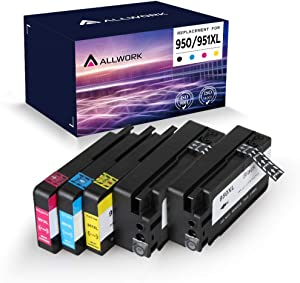 Allwork 950XL 951XL Compatible Ink Cartridges Replacement for HP 950 XL 951 XL Works with HP Officejet Pro 8100 8600 Plus 8610 8615 8620 8625 8630 8640 8660 251dw 276dw 5(2KCMY)