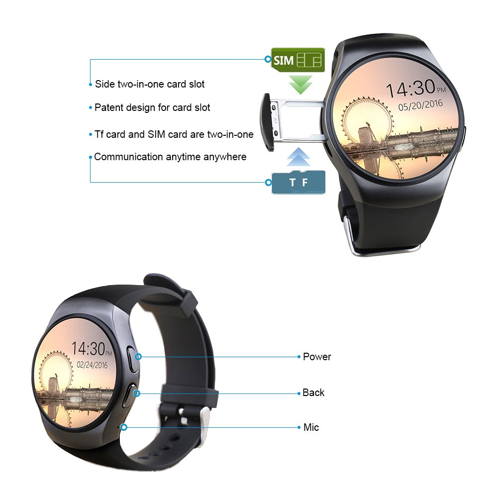 msvii Marrón Bluetooth Smart Watch Reloj Inteligente con Podómetro ...