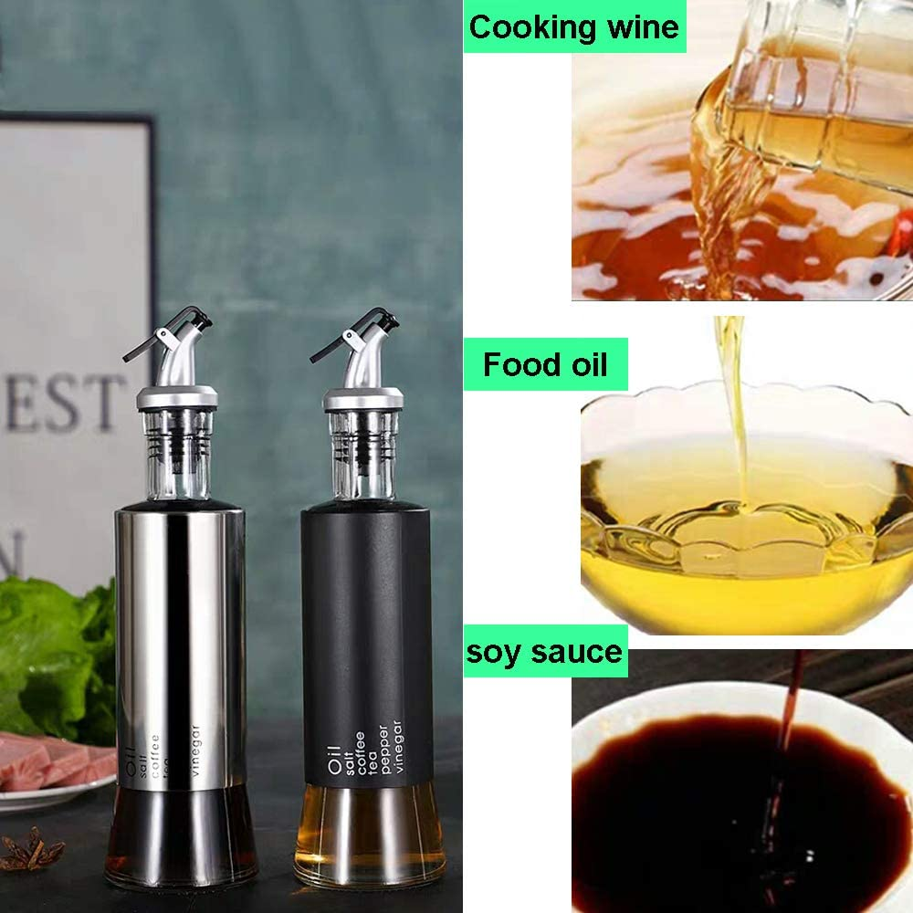 Cooking Oil Vinegar Dispenser Set for Kitchen and BBQ 2 Pack Oil and Vinegar Dispenser Set 10oz Olive Oil Bottle Set with One Extra Spout /& Silicon Gel Funnel