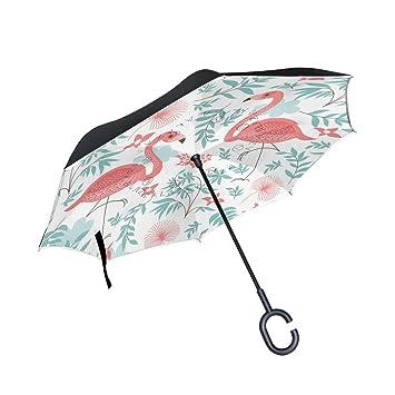 jstel doble capa puede Rosa Flamenco hojas flores paraguas coches Reverse resistente al viento lluvia paraguas