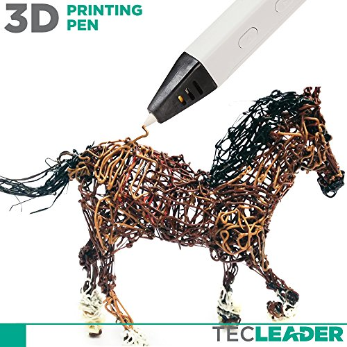 TECLEADER | 3D Printing Pen for Kids & Adults | Perfect Educational Toy for 3D Modeling, Printing and Doodling | Free Stencil EBook, 3 ABS Filaments & User Manual | Best Birthday Gift | Slim Design by TECLEADER (Image #1)