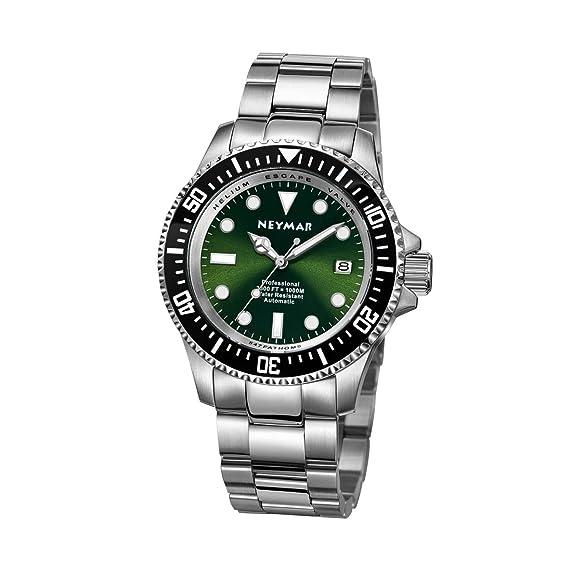 Neymar hombre 1000 M Buceo reloj acero inoxidable acero colorgreen cara automático 500 M reloj de buceo: Amazon.es: Relojes