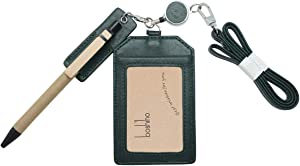 Office Badge Holder - Boshiho Genuine Leather Credit ID Card Holder with Stretch Neck Lanyard Vertical Style (Green)
