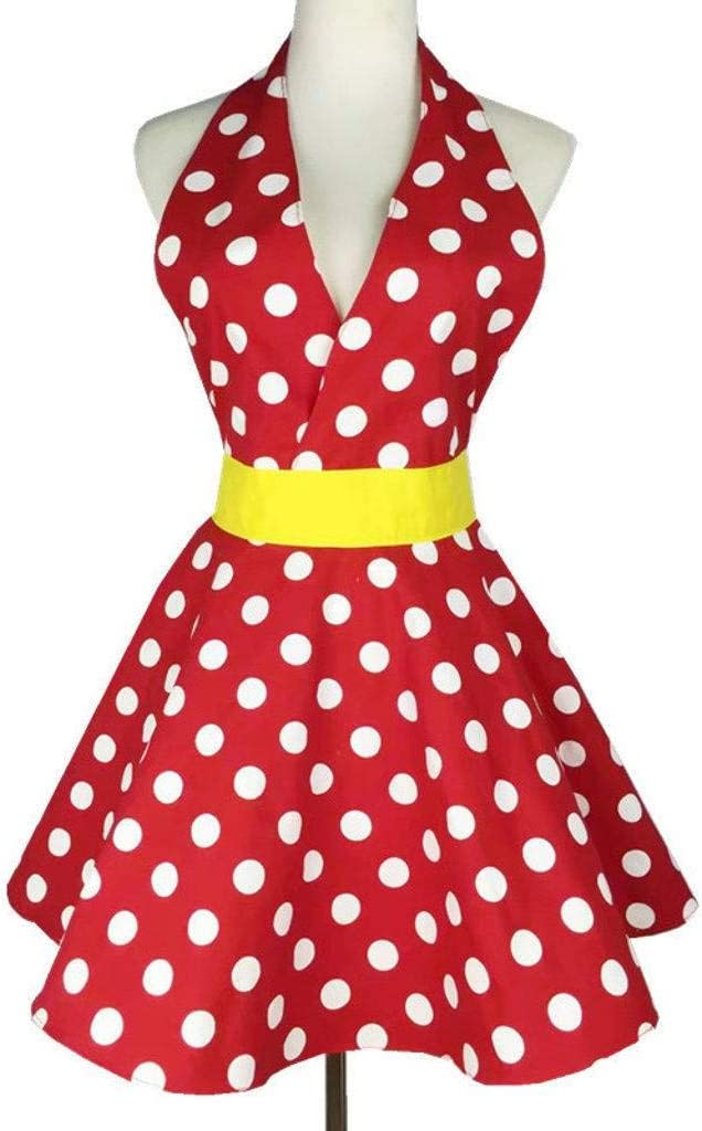 MO&SU Vintage Apron for Woman, Cotton Kitchen Apron Flirty Apron for Baking Cooking Gift-red