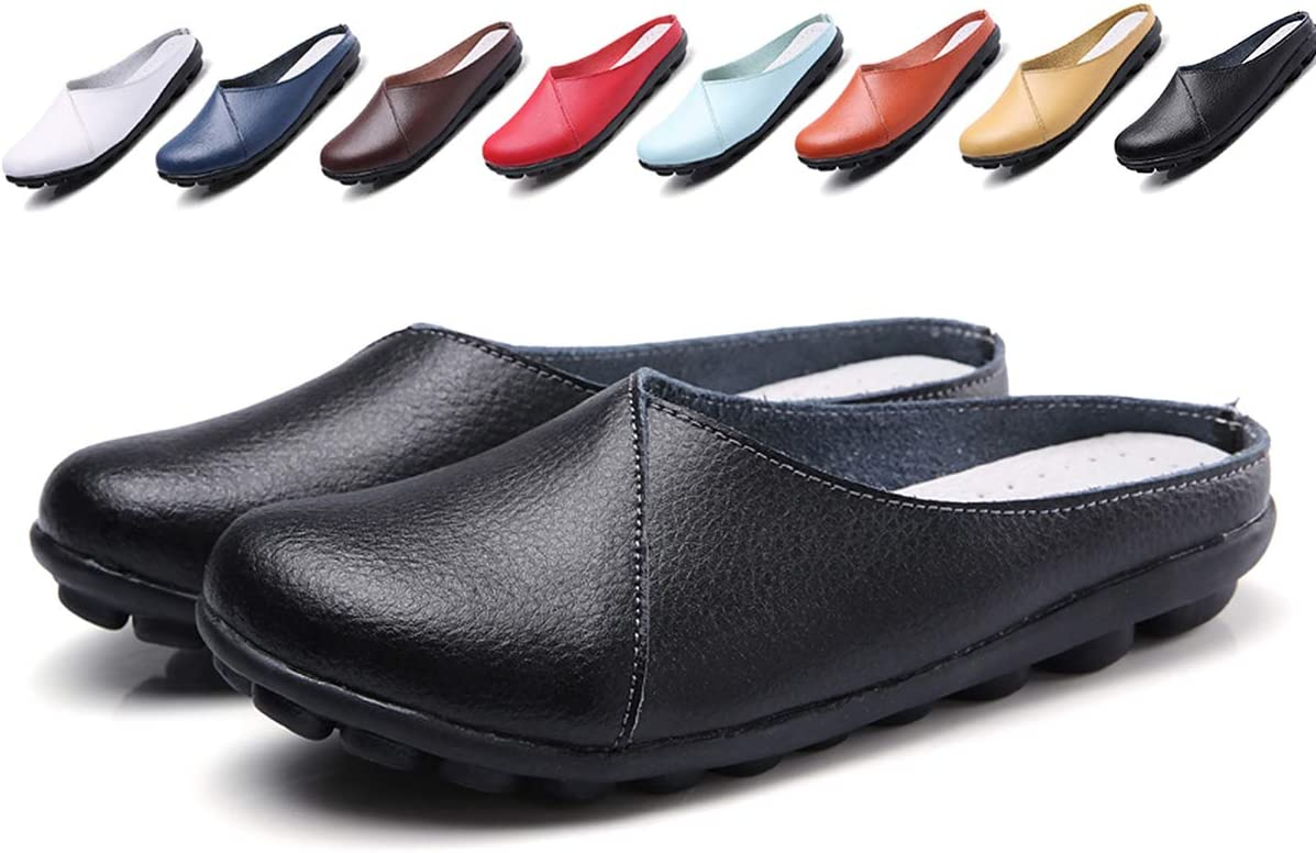 حذاء نسائي بدون رباط من الجلد بدون ظهر بدون كعب كاجوال مسطح صيفي حذاء مشي, (أسود), 36 EU