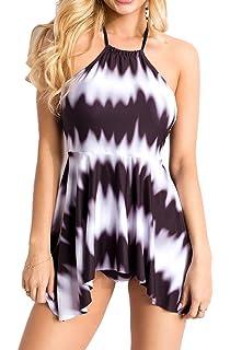 046e847304a6 Unbekannt Elastischer Damen Bikini Neckholder Swimsuit mit Wellen und  Streifen Muster schwarz weiß zum Binden