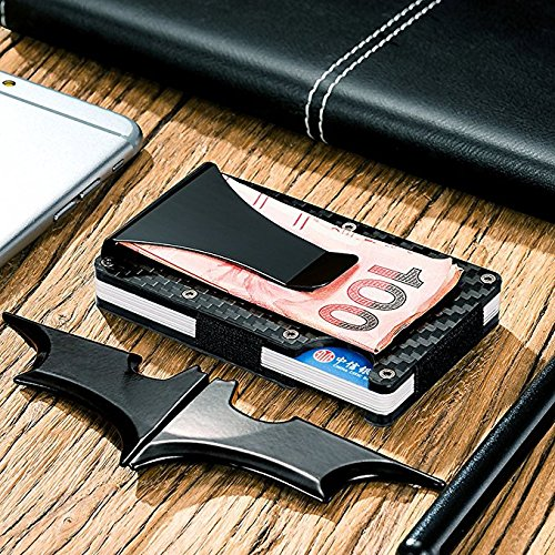 RFID Blocking Wallet With Money Clip – Card Holder Wallets – Carbon Fiber Aluminum and Stainless Steel – Sleek Slim Travel Card Carrier