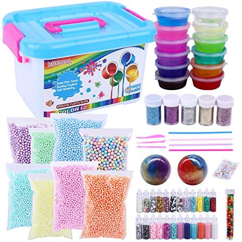 Slime Kit Supplies, Fluffy Slime Kit For Boys Girls Kids, Inlcude 12 Color Crystal Slime, Foam Balls, Glitter Jars, Egg Slime, Glitter, Straw, Egg slime, Rainbow Water Beads, Little Star, Slime Tools by MUUYIYA