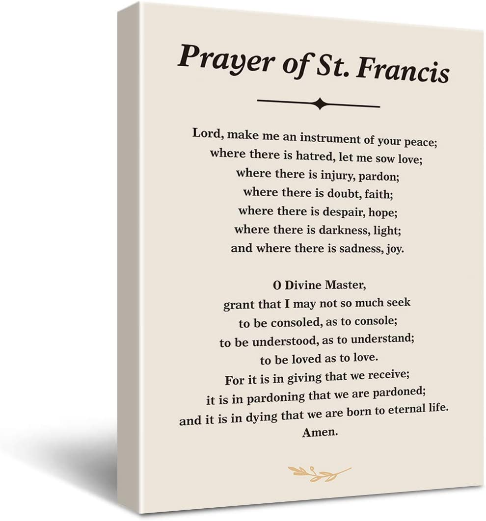 Inspirational Prayer of St. Francis Quote Saint Francis Peace Prayer Poster Canvas Wall Art Painting Ready to Hang for Home/Bedroom/Living Room Decor - Prayer Print Christian Wall Decor Canvas Gifts - Easel & Hanging Hook 11.5x15 Inch