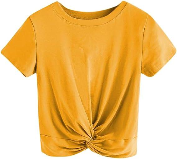 YEBIRAL Camisetas Mujer Manga Corta,Redondo Cuello ...
