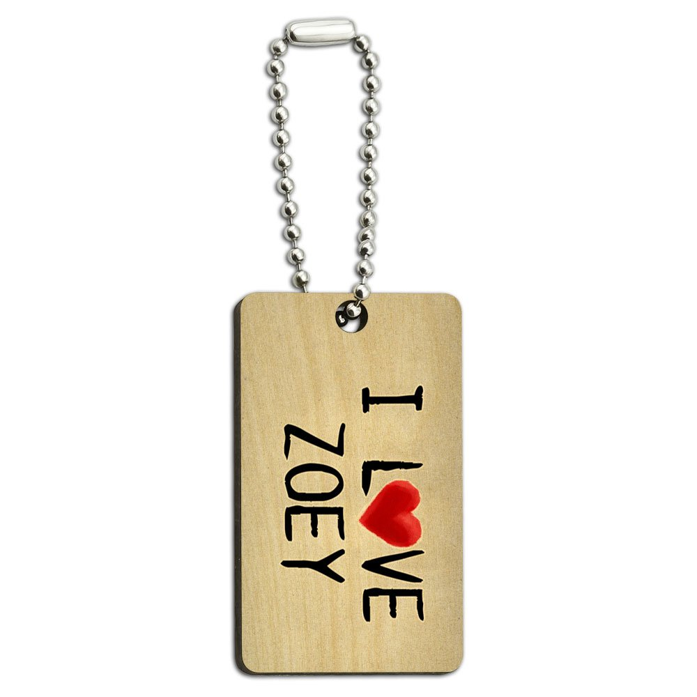 I Love Zoey Written on Paper Wood Wooden Rectangle Key Chain