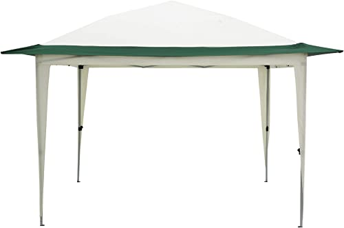 Knocbel 11.8 x11.8 Outdoor Adjustable Pop Up Gazebo Patio Canopy Tent Sunshade Shelter Powder-Coated Steel Frame Waterproof Polyester Fabric with 140 Square Feet of Shade White with Green
