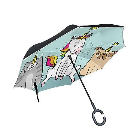Ourqela Paraguas invertido de Doble Capa para Gato de Unicorn con Paraguas invertido, Impermeable, Resistente al ...