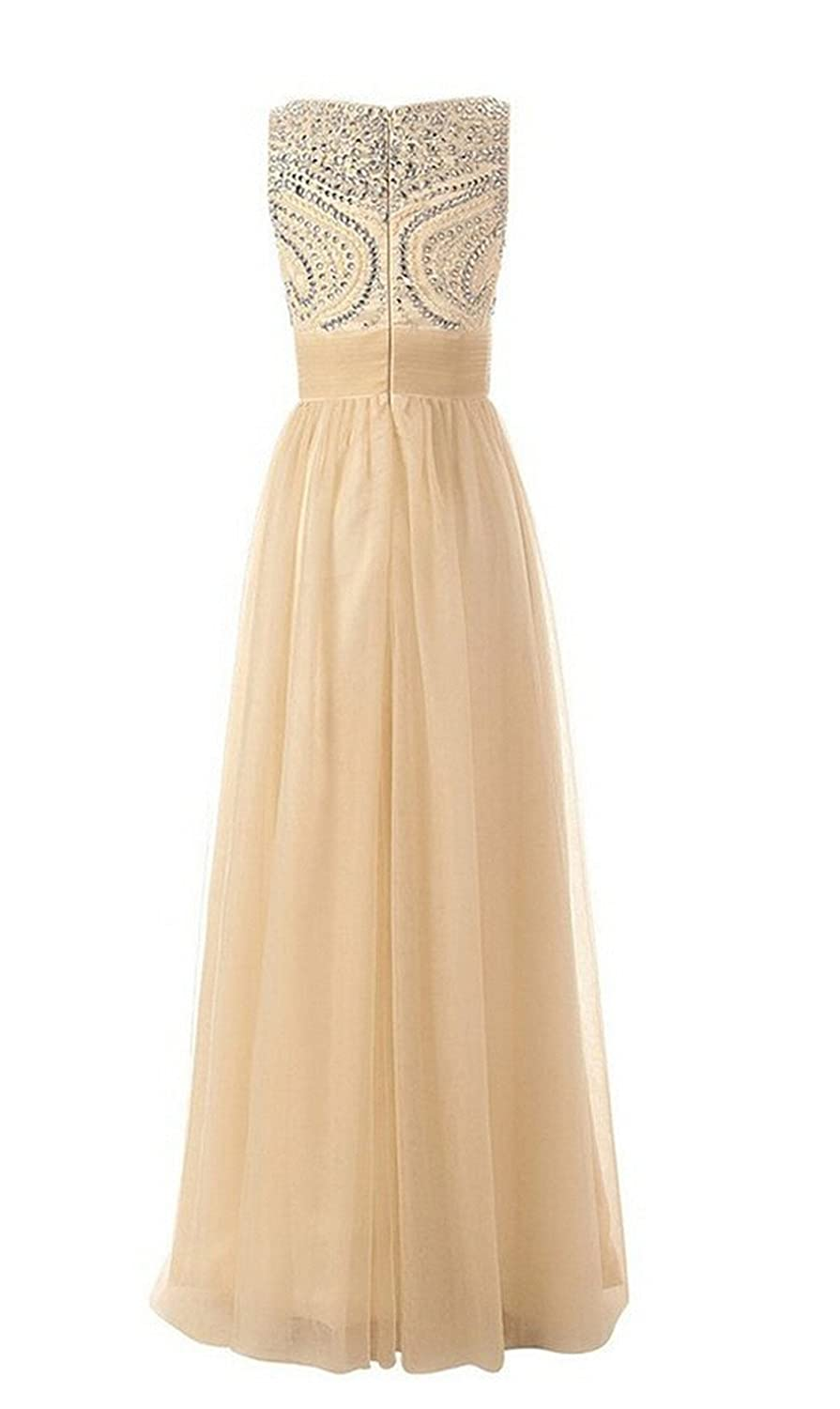 AngelDragon O-Neck Beaded Long Prom Dresses Formal Evening Gowns