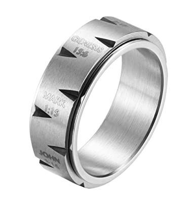 Alextina Men S 8mm Stainless Steel Spinner Ring Christian Prayer