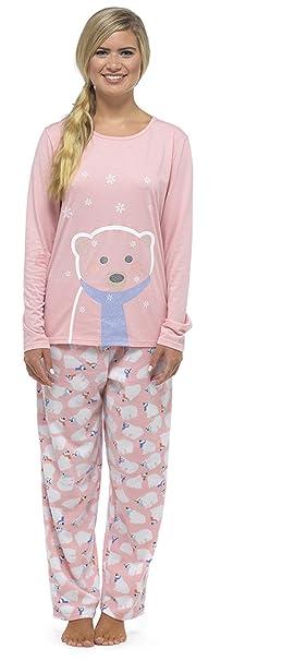 Mujer Forro Polar Estampado Purpurina Navidad /Invierno Pijama Conjunto con Fondos De Paño Grueso Y