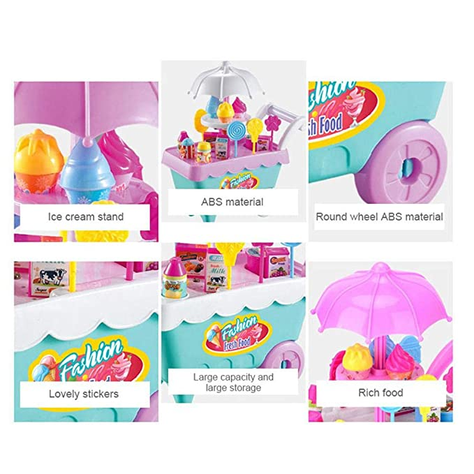 Amazon.com: FOONEE Ice Cream Candy Cart, 27 PCS Mini Kids DIY Play Set with Music and Light, Dessert Trolley Puzzle Toy, Fun Educational Gift for Girls: ...