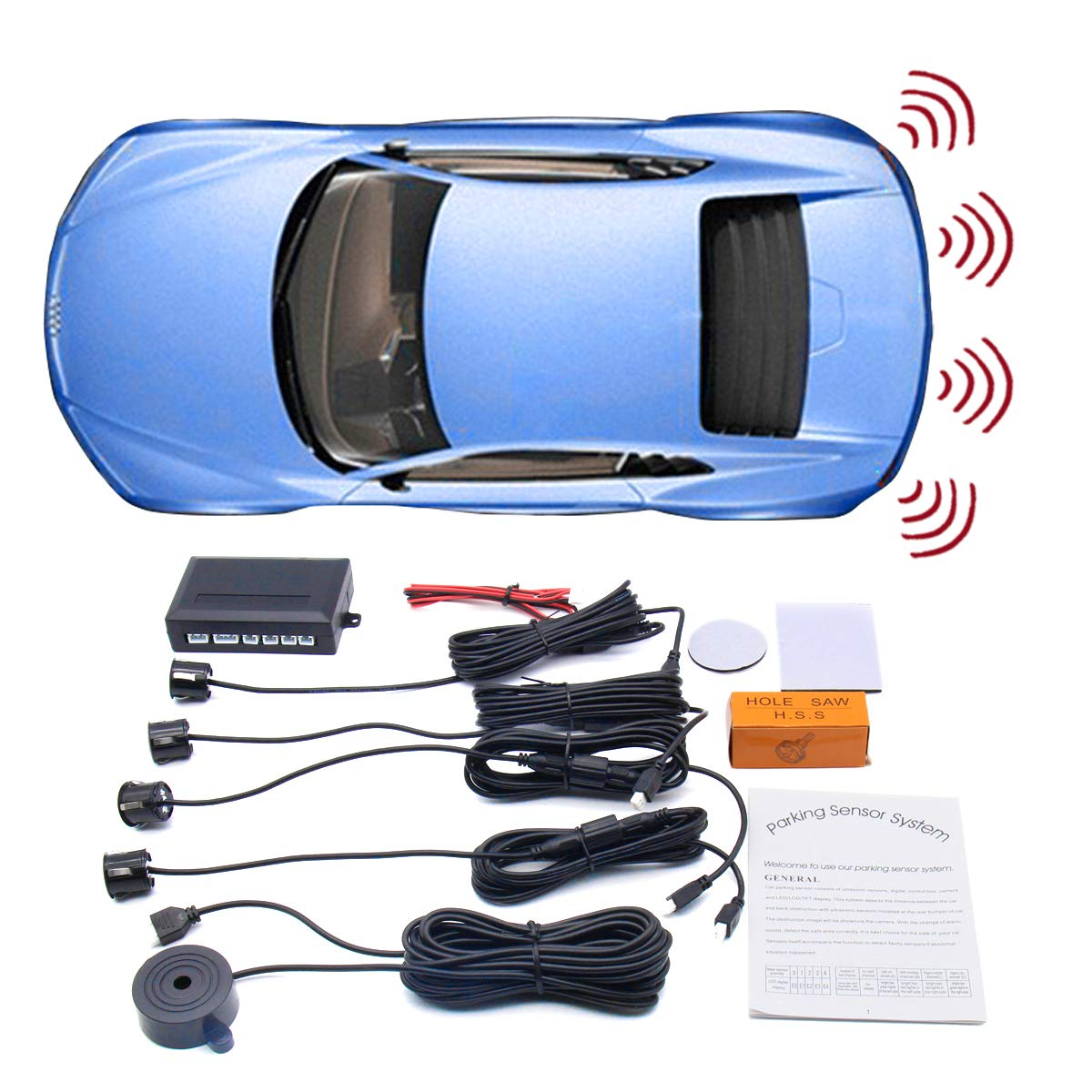 WINAUTO Car Backup Radar Sound Alert + 4 Parking Sensors, Reversing Sensor Kit with Beeping System - Black