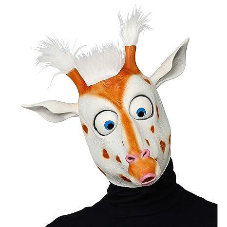 Amakando Divertida y excéntrica máscara de Jirafa Africana / Blanco-Marrón / Máscara de látex